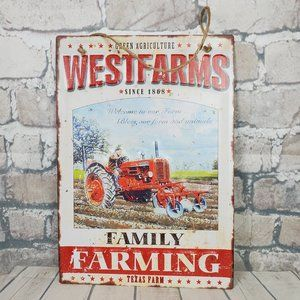 Retro Tin Sign West Farm Family Farming Tractor 3D